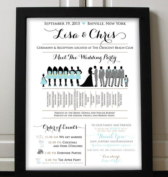 Wedding Silhouette Poster Party Program