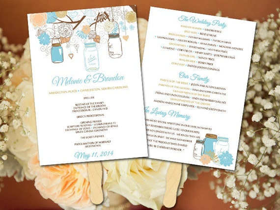 Wedding Fan Template Mason Jar Program - Printable Program DIY ...