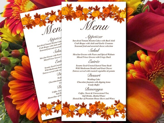 Fall Wedding Menu Card Template Download Wedding Reception Etsy