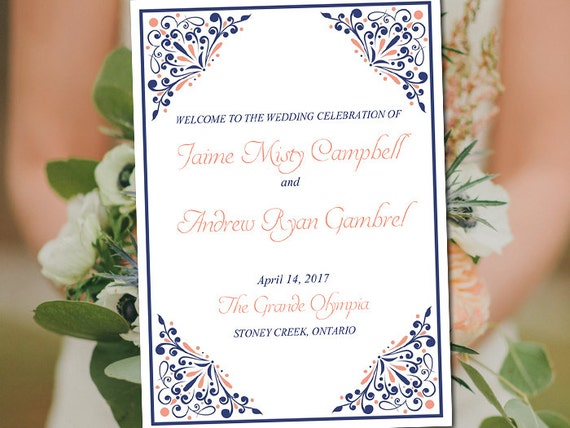 Fold Over Wedding Program Template Download Madison Navy Coral Order Of Service Half Printable