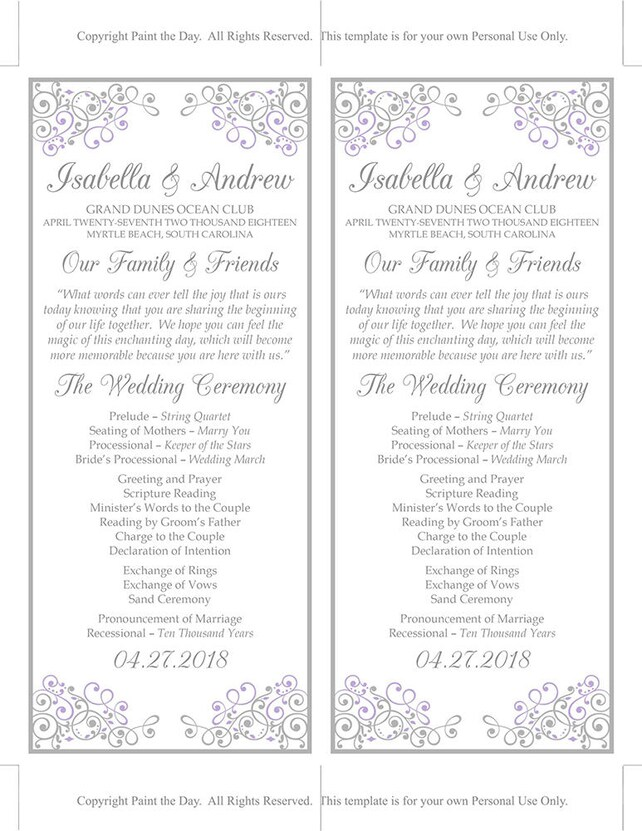 Lilac Wedding Program Template Tea Length Timeline