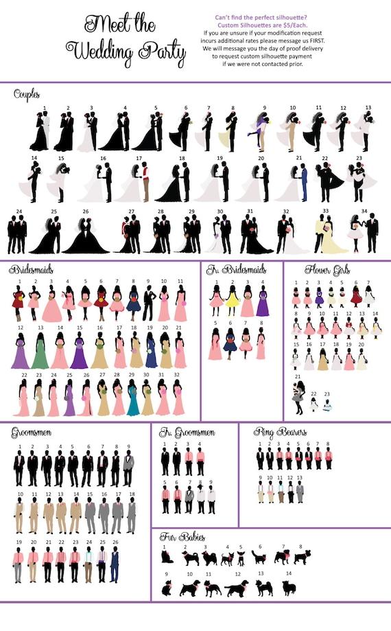 Wedding Silhouette Program Card