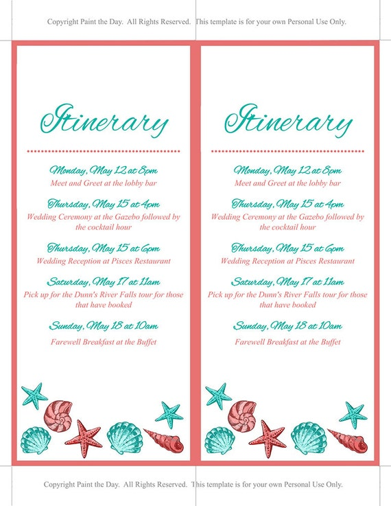 Beach wedding itinerary template wedding planner coral etsy 50 maxwellsz