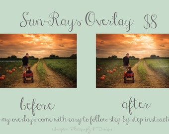 Sun-rays overlay PS Sun streams Sunrays realistic looking sun rays easy to use PS instructions included see before & after