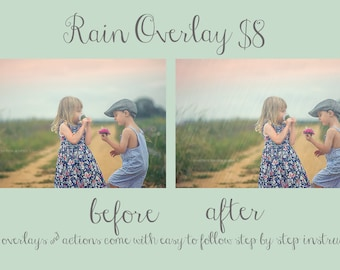Rain overlay PS realistic looking rain easy to use PS instructions included see before & after Photography Photographer