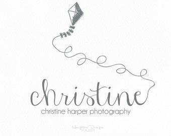Photographer logo kite hand drawn design font photography blog website use Pre-made
