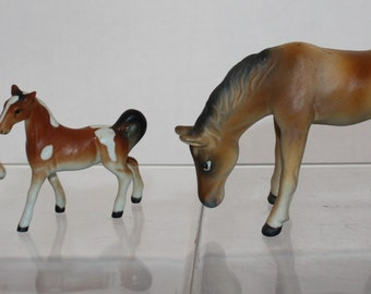 Porcelain China Thimbles Set of Three Mares and Foals