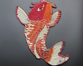huge Koi Nishikigoi red and white goldfish embroidery patch
