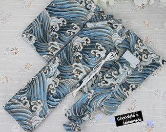 Japanese robe traditional KIMONO set for BJD  wave ocean print dark and light blue and white msd 1/4 SD 1/3 yosd 1/6 yukata