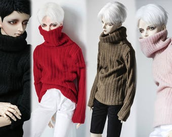 knit high neck sweater top vintage striped long sleeves loose fitting jersey pink girl black brown mud red A197 BJD msd 1/4 SD 1/3 SD17 SD10