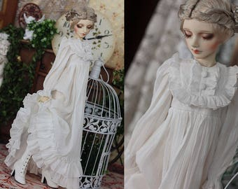 bjd SD13 sdgr sd16 IP EID 1/4 msd 1/2 1/3 sd13 sd sq61 DDL sd17 white long sleeves pleated gathered sleepwear princess sleeping beauty dress