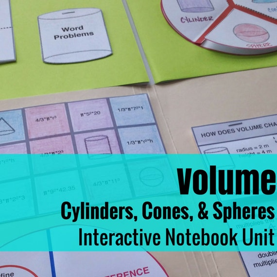 Folder Flips: Volume of Cylinders, Cones, and Spheres Interactive Notebook Unit