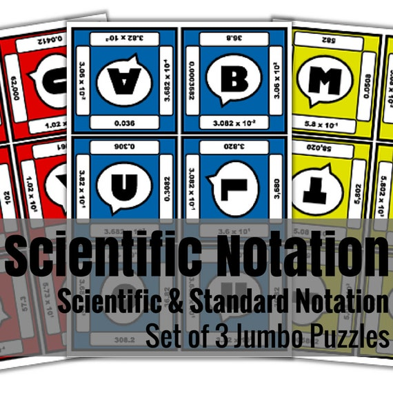 Scientific Notation Jumbo Puzzles - Set of 3 | A Science Activity