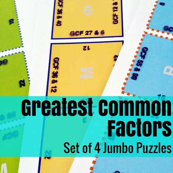 Math Activity: Greatest Common Factor Square Jumbo Puzzle Set (4 Pack)