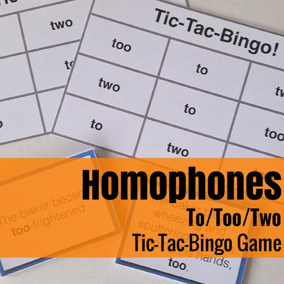 To/Too/Two Tic-Tac-Bingo Language Arts/Grammar Game