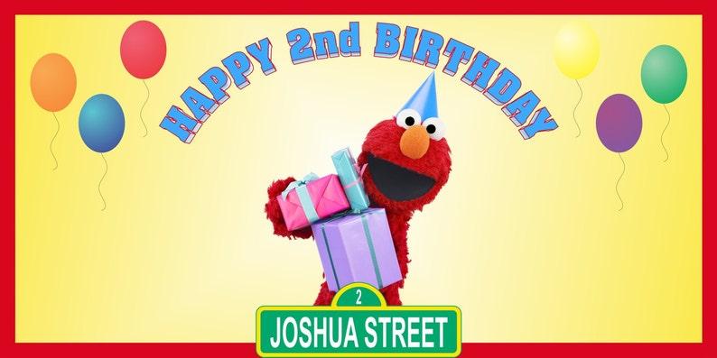 Personalized PBS Kids Sesame Street Elmo Birthday Party Big Vinyl Banner Sign Decoration