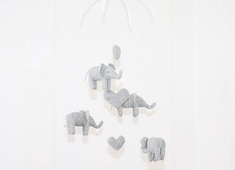 Baby Mobile Elephant Knitted-nursery mobile-elephant mobile-knitted elephant mobile-handmade-made to order