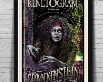 3 SIZES Edison's Frankenstein 1910 movie poster Classic Horror Mondo-Style Series #1 by Scott Jackson