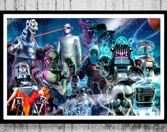 3 SIZES Space Robots Attack Science Fiction art print poster by Scott Jackson Robbie B9 Robot Monster canvas print metallic print