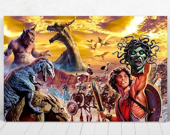 3 SIZES Ray Harryhausen art print poster Clash Titans Jason Argonauts Valley Gwangi 7th Voyage Sinbad canvas print metallic Scott Jackson