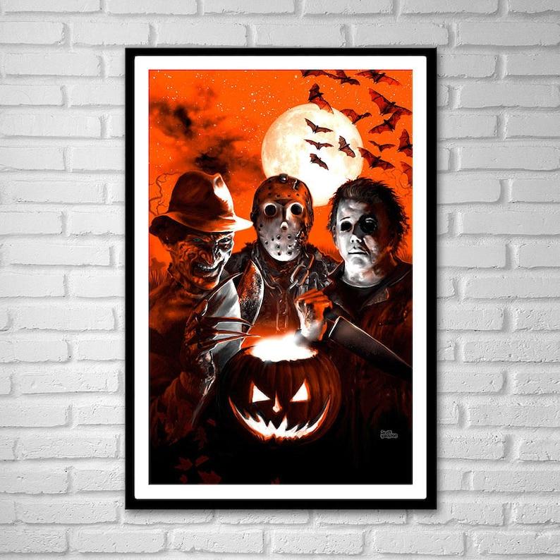 bd59fcead80d 3 SIZES Halloween Scream Team art poster print Jason Voorhees