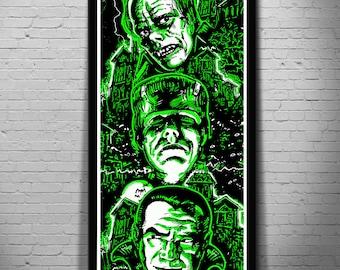 3 SIZES TALL House of Monsters Art print Poster Frankenstein Dracula Phantom of the Opera horror movie monster art canvas by Scott Jackson