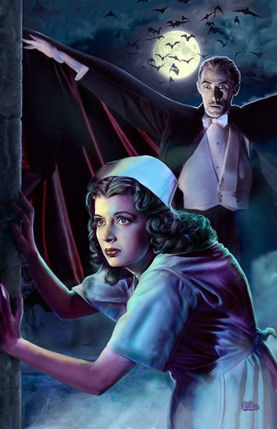HORROR OF DRACULA CHRISTOPHER LEE Hammer horror movie art by Scott Jackson