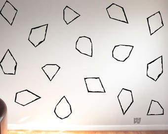 Gem Wall Decals. Geometric Wall Decor. Vinyl Decals. Diamond Decals. Wall Decal. Living room wall decal. Wall sticker. Home decor decals.