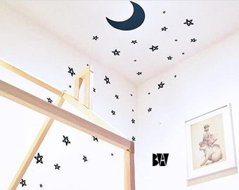 Moon Nursery Decal. Stars and moon. Crescent moon decal. Nursery decor. Wall sticker. Home decor decals. Bedroom Decals. Ceiling Decals.