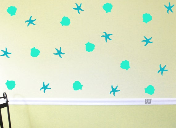 Ocean Bathroom Decor Beach Decals Wall Decor Sea Shell Decals Starfish Decals Nursery Wall Decal Wall Sticker Home Decor Decals