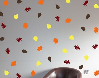 Leaf Wall Decor. Fall Decals. Autumn Wall Decor. Fall Colors. Livingroom wall decal. Wall sticker. Home decor decals.