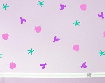 Mermaid Decals. Beach Decals. Pink Bathroom Decals. Sea Star Decals. Nursery wall decal. Wall sticker. Home decor decals.