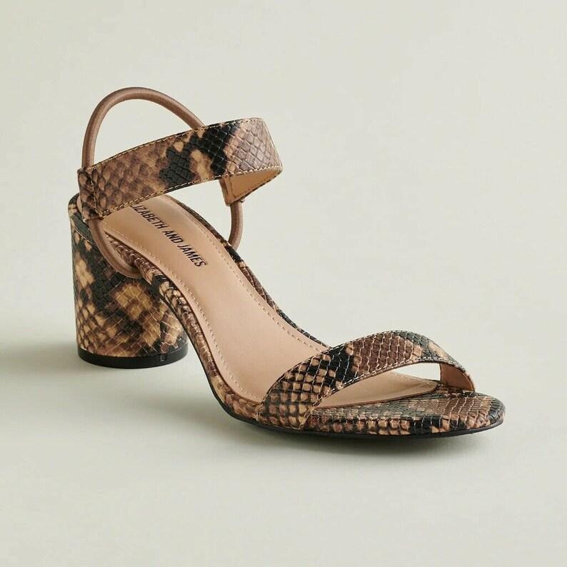 Us 10 Elizabeth And James Brown And Tan Snake Print Mid Heels