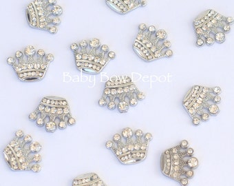 Wholesale 20 Crown Flat Back Clear Rhinestone Embellishments