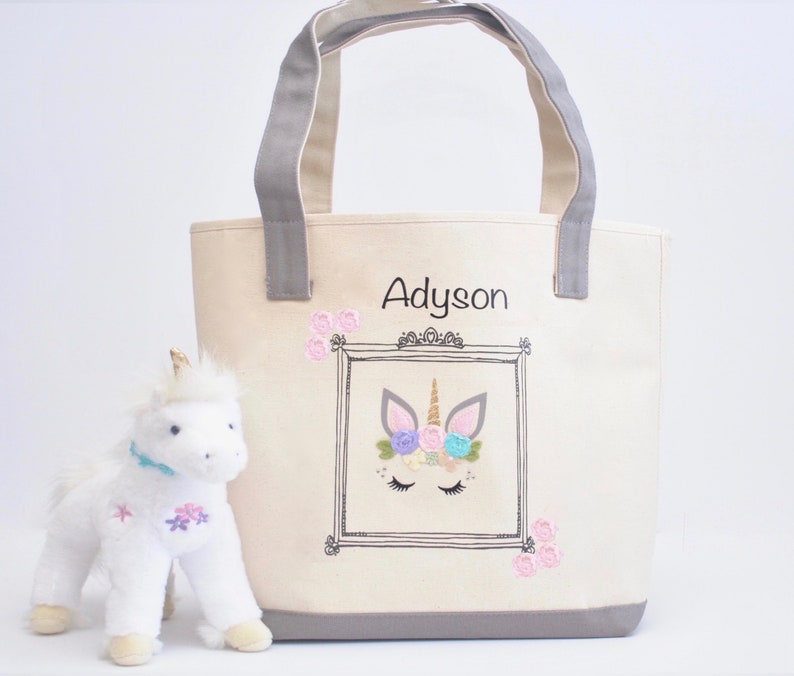 Library book bag Unicorn face Party invites| Big sister kit| Preschool Tote Easter Gift Girls Book Bag Large Unicorn Face Tote bag