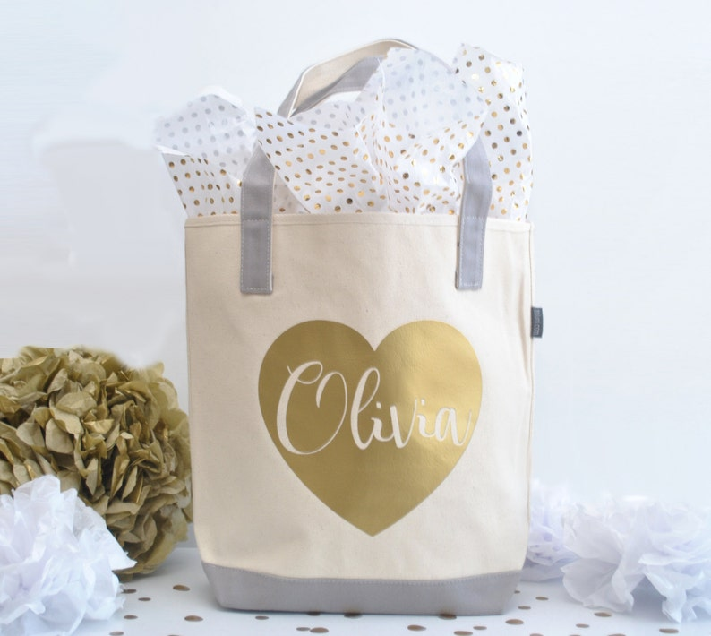 6c06032c9d8d1e Personalized Bridesmaid Tote Bag Bridal Party Tote Gold