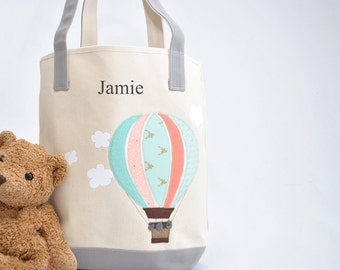 Large Mint Hot Air balloon Tote |Personalized Tote |Hot air balloon Nursery |Hot air balloon baby shower gift  |Kids Library bag