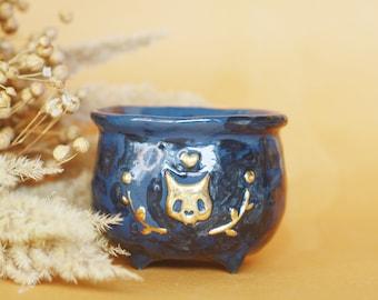Cat Skull Cauldron, Ceramic Cup, OOAK Whimsical Gothic Decor