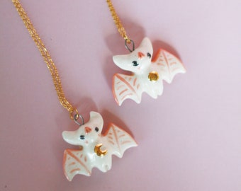 White Bat Pendant, Delicate Handmade Ceramic Jewelry, Necklace