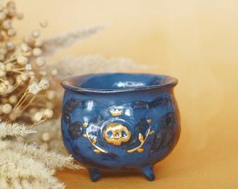 Skull Cauldron, Ceramic Cup, OOAK Whimsical Gothic Decor