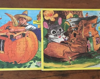 Two Children's Storybook Cardboard Puzzles, 1970s