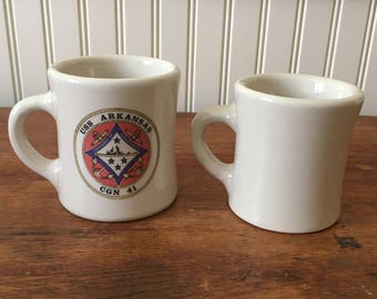 Heavy Diner Mugs, One from a Haunted Hotel in California, Marked Victor, Cream Colored