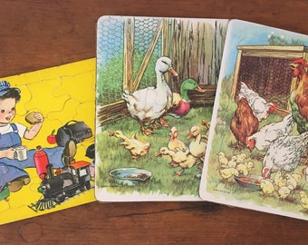 Three Vintage Child's Cardboard Puzzles from the 60s and 70s