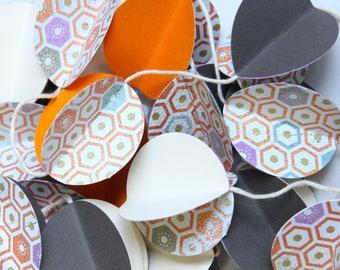 Paper Garland - Wall decor - Orange, charcoal, ivory - Japanese motifs - Decor for Christmas, wedding, party, nursery