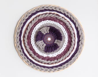 Large circular woven wall hanging / Dreamcatcher / weaving / wall decor - purple, gray, white, gold - Home decor