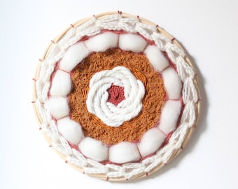 Circular woven wall hanging / Dreamcatcher / weaving / wall decor - white, ivory, orange, saffron, brick-red - Home decor - nursery