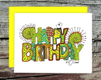 Zentangle Birthday Card with Envelope, Colorful  Birthday Wish, Original Zentangle Drawing