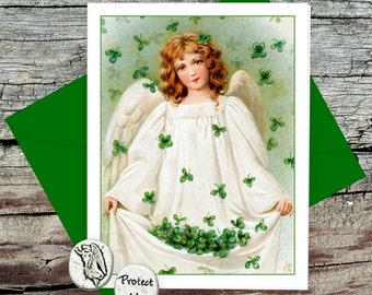 Irish Angel Token Card, Guardian Angel Pocket Token, Handmade Greeting Card with Verse