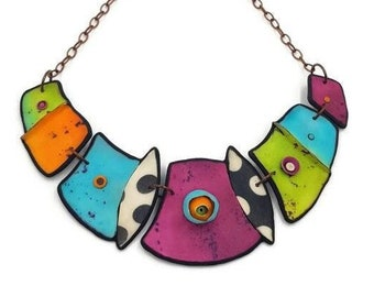 Statement Necklace, Colorful Necklace, Multicolor Necklace, Chunky Necklace, Big Necklace, Bold Necklace, Bib Necklace, Statement Jewellery