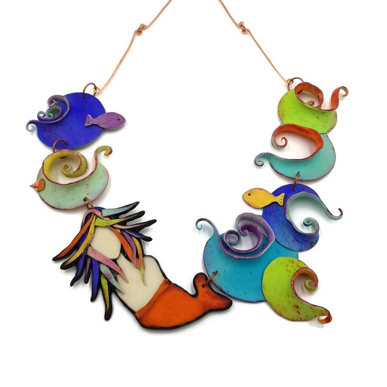 Bold Necklace Statement Necklace Mermaid Necklace Big Necklace Mermaid jewelry for women Bib Necklace,Arty chic Chunky Necklace